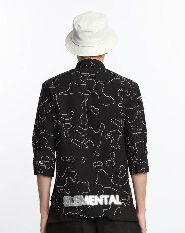 Black 3/4 Sleeve Standard Lapel Men's Shirt