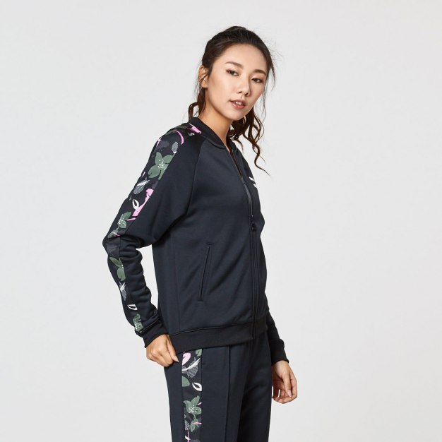 블랙 긴소매 표준 여성 운동 코트