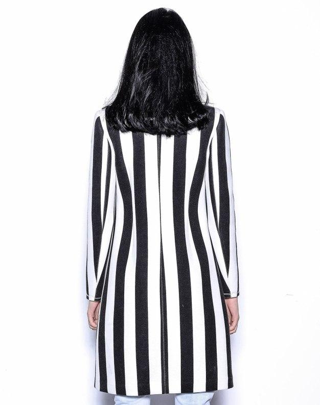 화이트 줄무늬 기타 긴소매 표준 여성 아우터