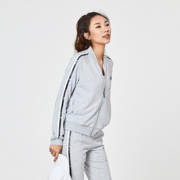 그레이 긴소매 표준 여성 운동 코트