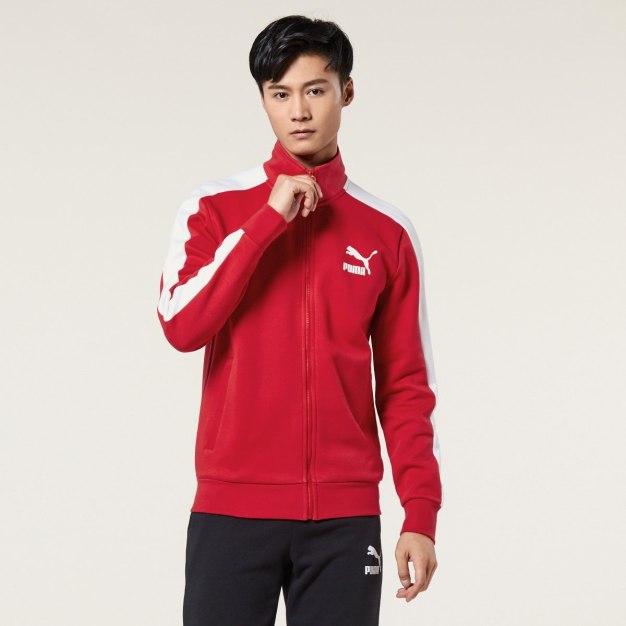 레드 긴소매 표준 남성 코트
