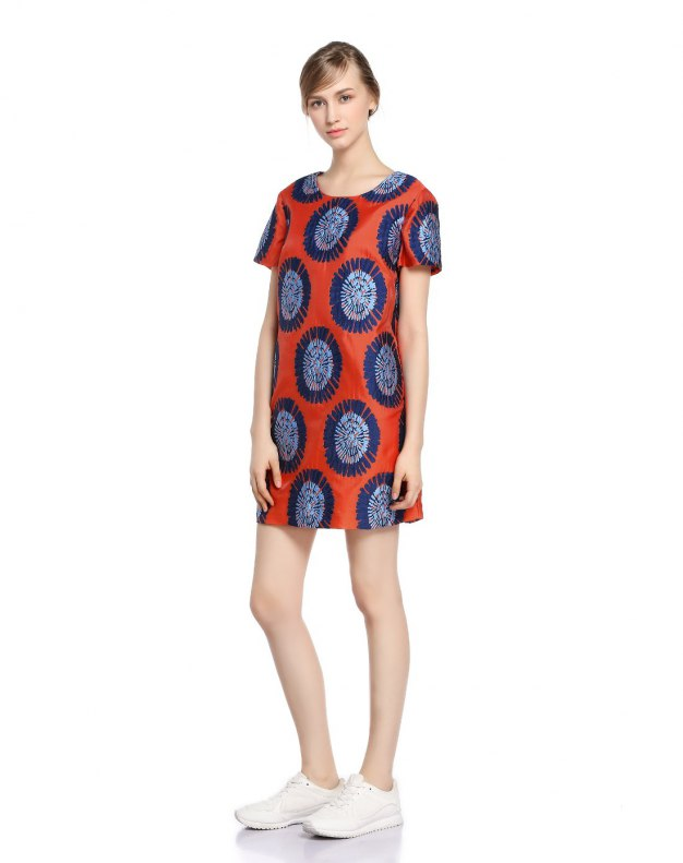 Red 3/4 Length Women's Dress