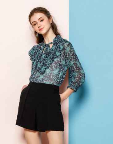 Floral Strappy Neck Cropped Sleeve Women's Shirt