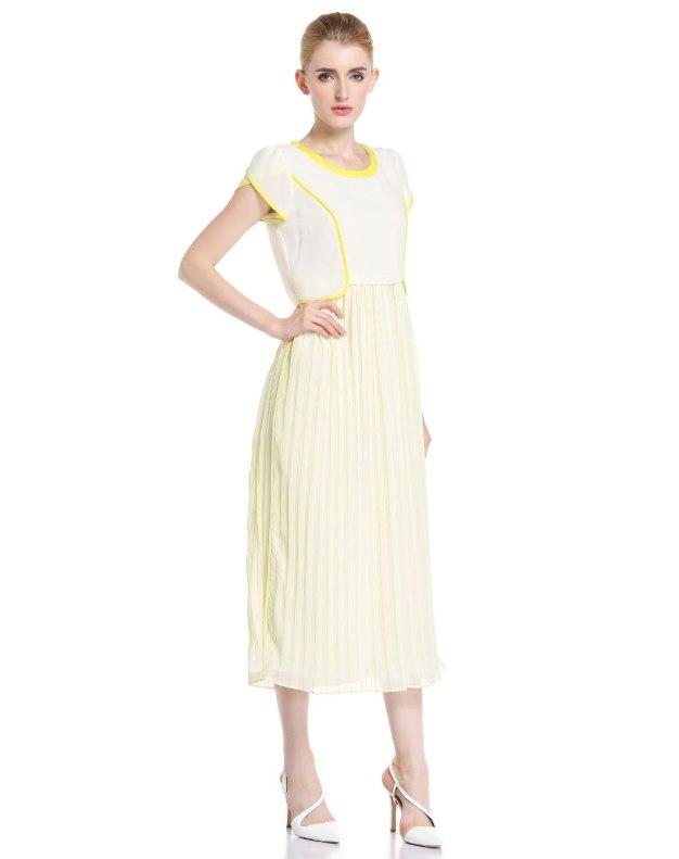 화이트 반팔 티셔츠 주름치마  여성 드레스