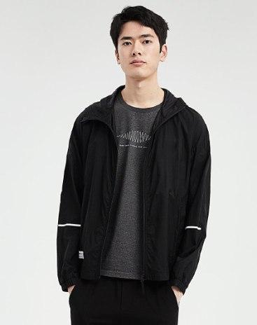 Black Regular Collar Long Sleeve Standard Men's Jacket