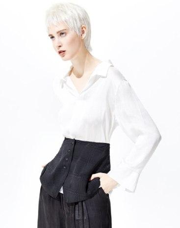 White Plain Elastic Long Sleeve Loose Women's Shirt