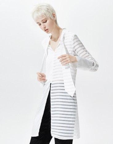 White Stripes V Neck Elastic Long Sleeve Standard Women's Shirt