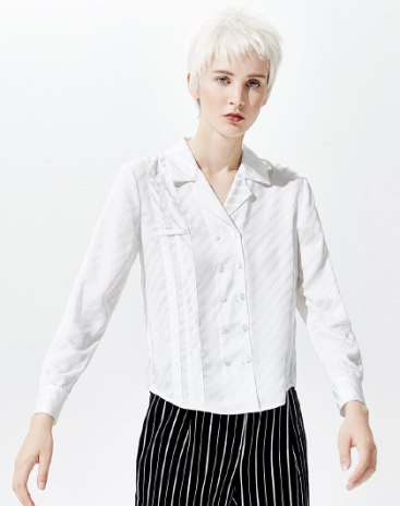 White Stripes Shirt Collar Double Breasted Loose Women's Shirt