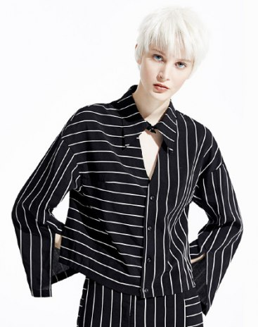 Stripes Single Breasted Long Sleeve Loose Women's Shirt