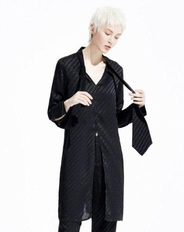 Black Stripes Long Sleeve Standard Women's Shirt