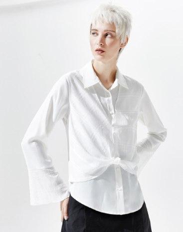 White Plain Polo Neck Long Sleeve Loose Women's Shirt