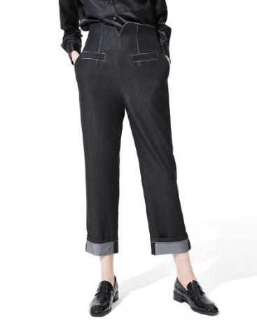 Black High Waist Cropped Women's Pants