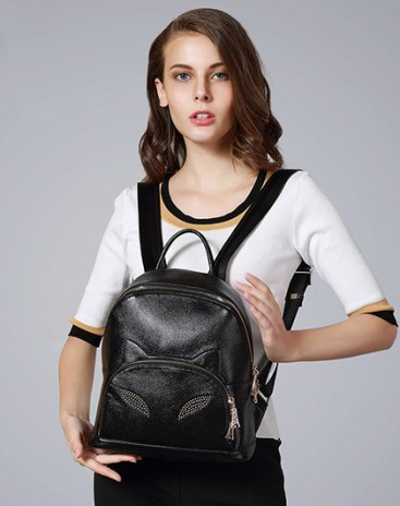 Black Cowhide Leather Medium Women's Backpack