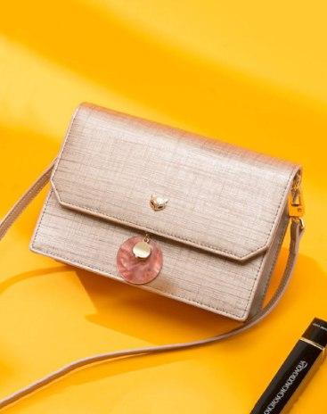Plain Cowhide Leather Envelope Bag Small Women's Crossbody Bag