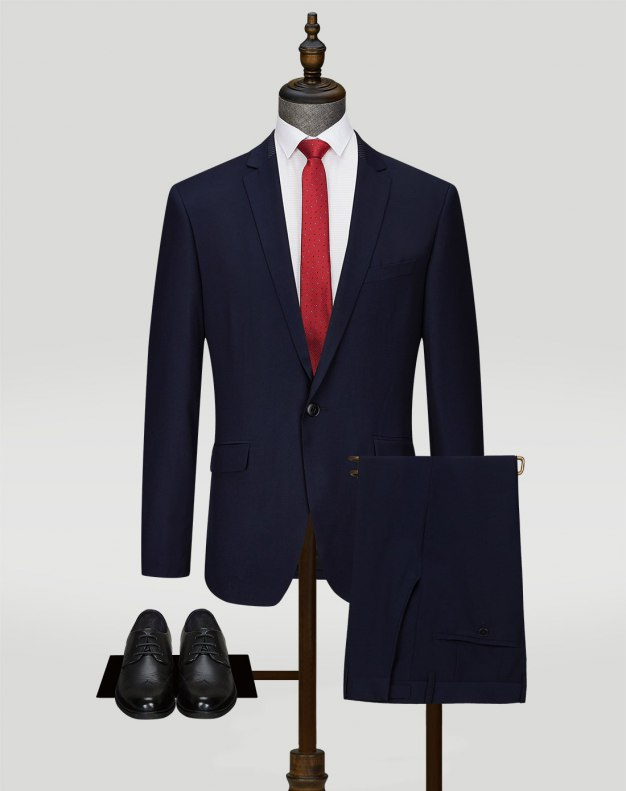 Blue Long Sleeve Fitted Men's Suit