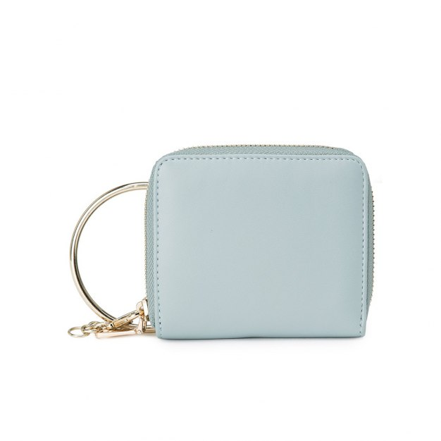 Blue Plain PU Purse(Short) Mini Women's Wallet