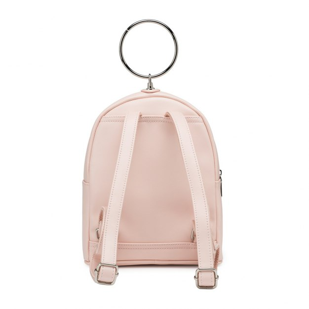 Pink PU Small Plain Women's Backpack