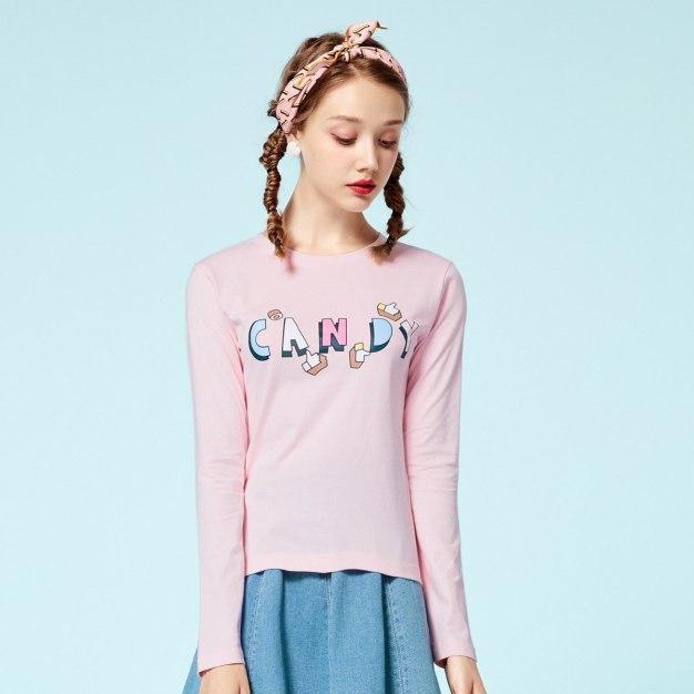 Pink Round Neck Long Sleeve Standard Women's T-Shirt