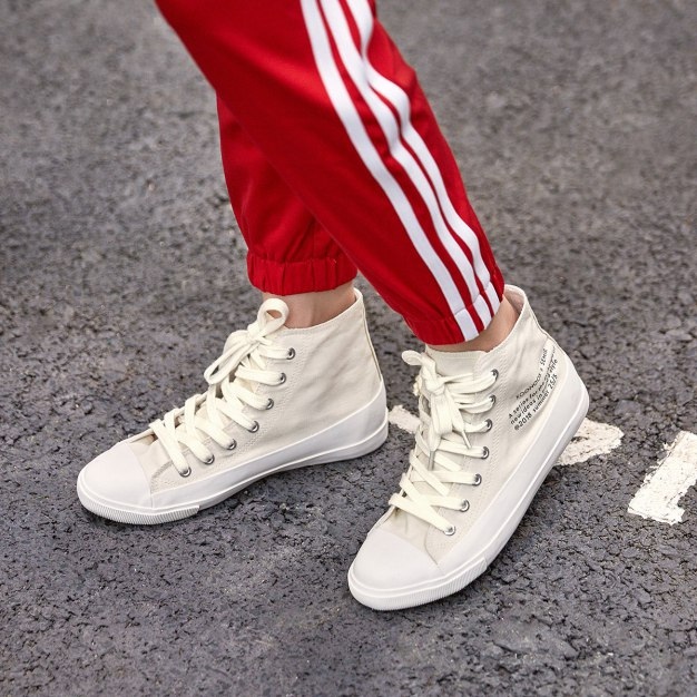 White High Top Round Head Wear-Resistant Women's Outdoor Shoes