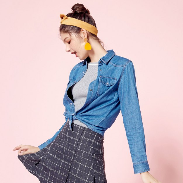 Plain Lapel Single Breasted Long Sleeve Standard Women's Shirt