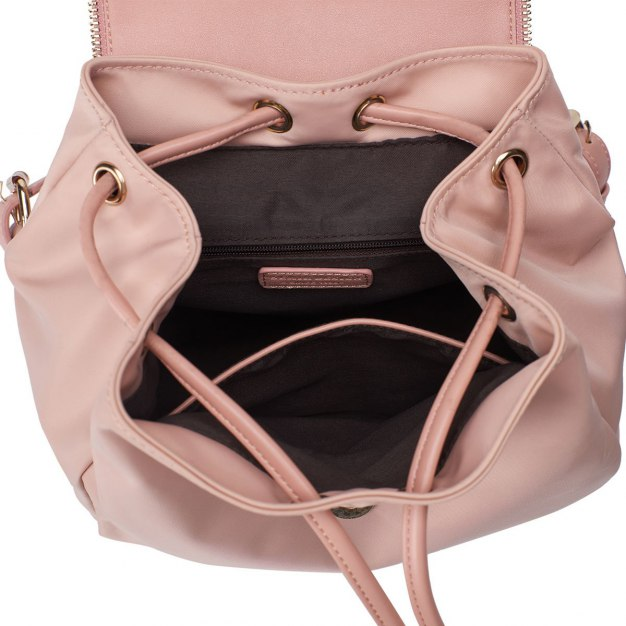 Pink Nylon Small Plain Women's Backpack