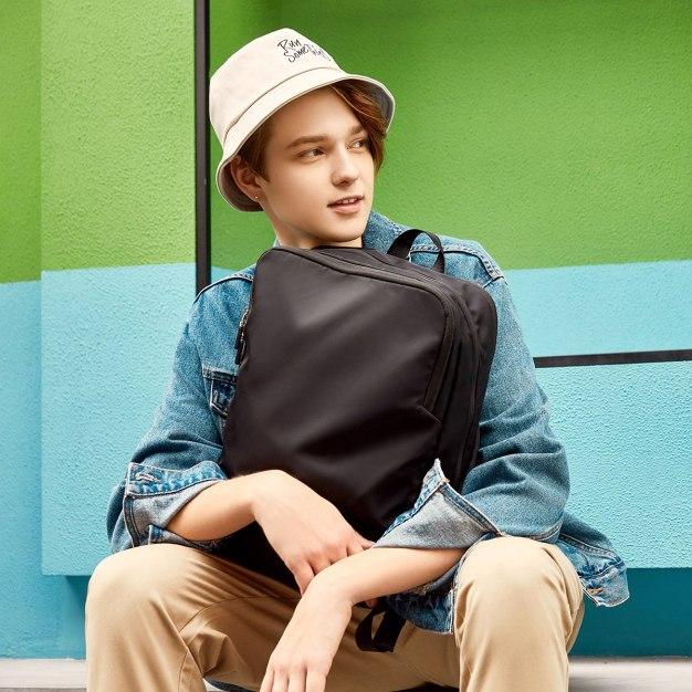Black Plain Nylon Big Men's Backpack
