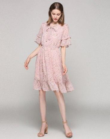 Pink V Neck Sleeve Standard Women's Dress