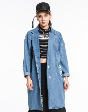 Blue Lapel Long Sleeve Single Breasted Women's Outerwear