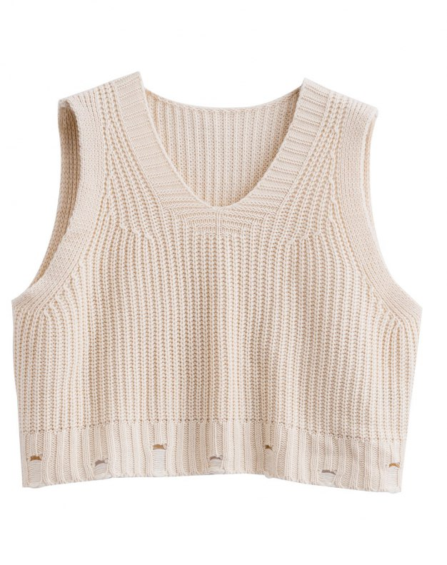 Apricot V Neck Sleeveless Loose Women's Sweater