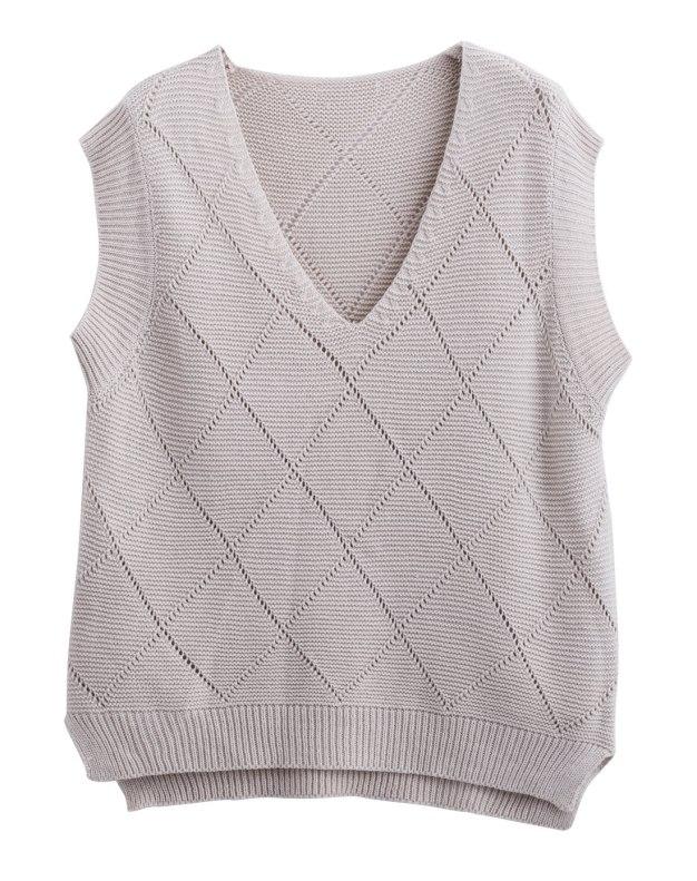 Apricot Collarless Sleeveless Loose Women's Sweater