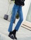 Blue High Waist Slit Women's Jeans
