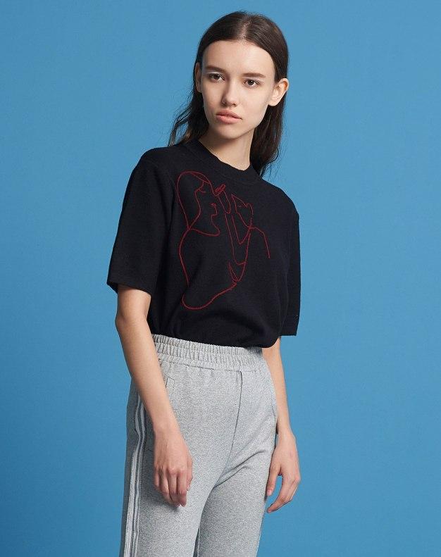 Black Round Neck Short Sleeve Women's Knitwear