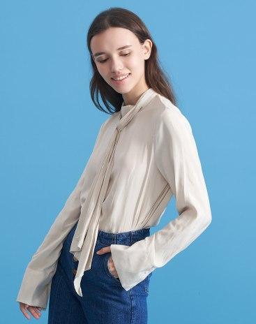 Apricot Plain Stand Collar Long Sleeve Standard Women's Shirt