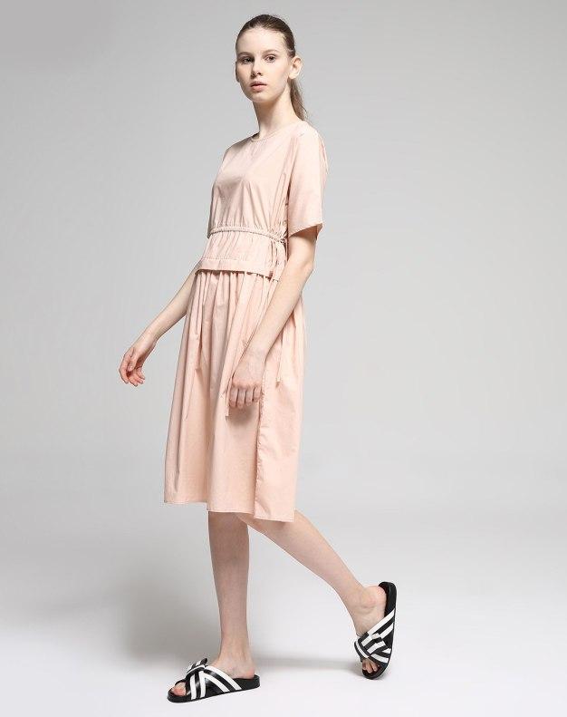 Pink Round Neck Short Sleeve 3/4 Length A Line Women's Dress