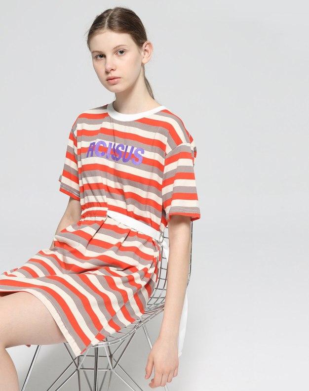 Red Round Neck Short Sleeve 3/4 Length Standard Women's Dress