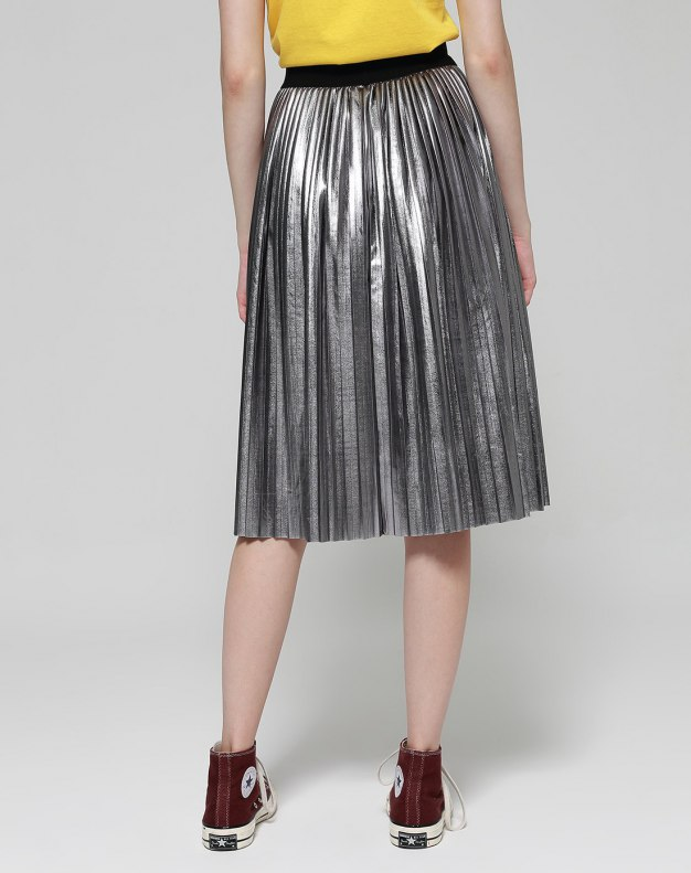 Silver 3/4 Length Women's A Line Skirt