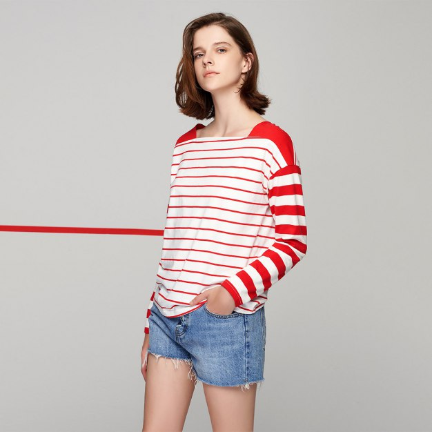 Red Stripes Off Neckline Long Sleeve Loose Women's T-Shirt