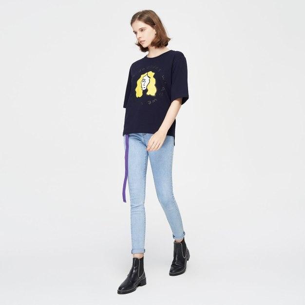 Blue Round Neck Short Sleeve Loose Women's T-Shirt