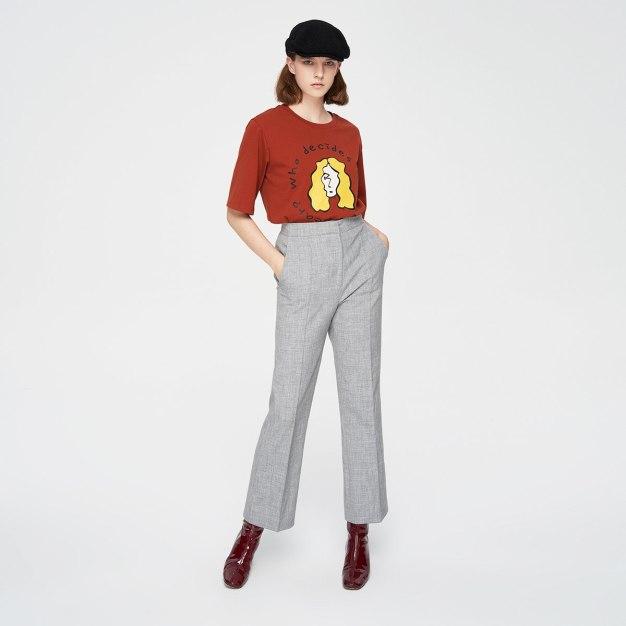 Brown Round Neck Short Sleeve Loose Women's T-Shirt
