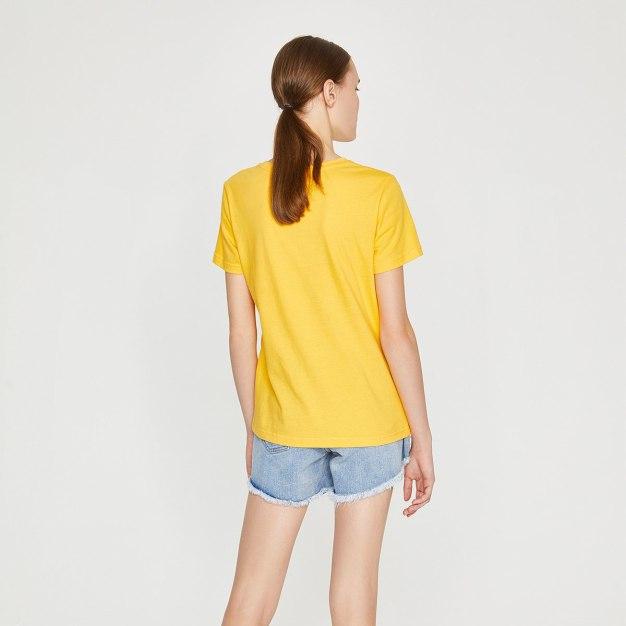 Yellow Sketch Round Neck Short Sleeve Standard Women's T-Shirt
