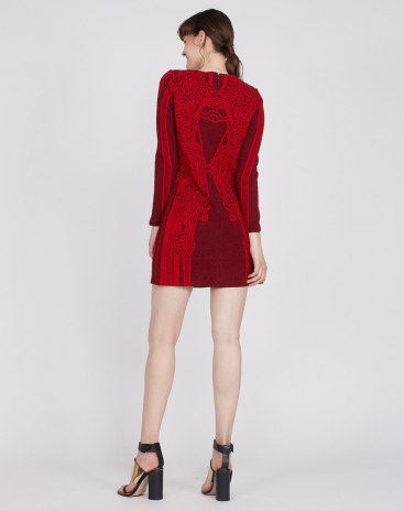 Red Round Neck Long Sleeve A Line Fitted Women's Dress