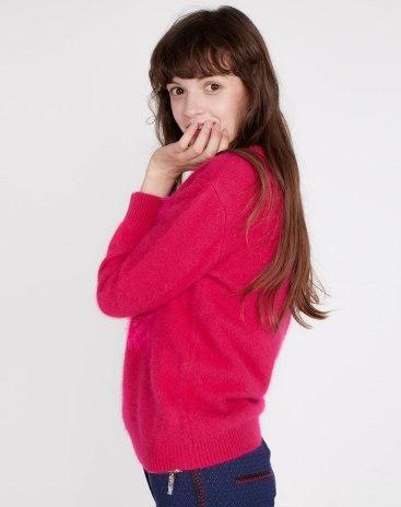 Red Plain Round Neck Long Sleeve Standard Women's Knitwear