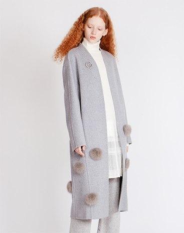 Gray Plain V Neck Long Sleeve Fitted Women's Coat