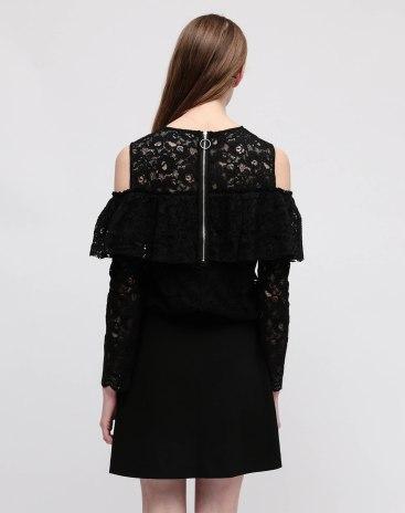 Black Plain Long Sleeve Standard Women's Knitwear