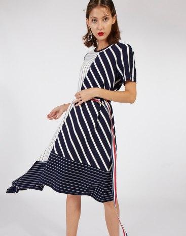 Round Neck Short Sleeve 3/4 Length Asymmetric Women's Dress