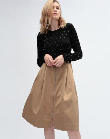 Black Round Neck Long Sleeve 3/4 Length A Line Women's Dress