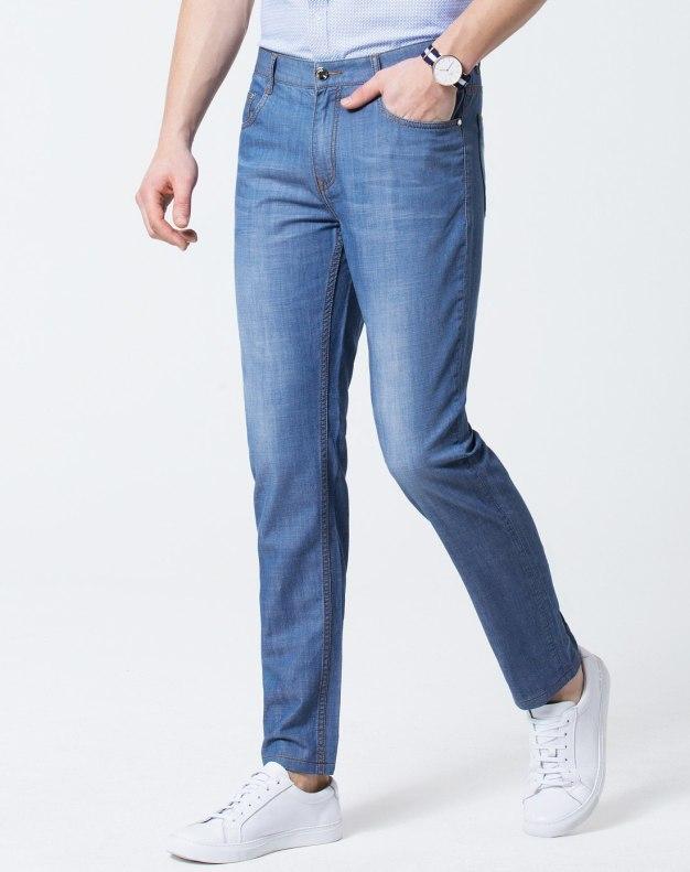 Blue Light Elastic Fitted Men's Jeans
