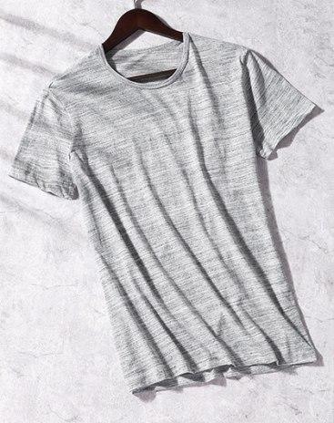 Gray Cotton Light Elastic T-shirt