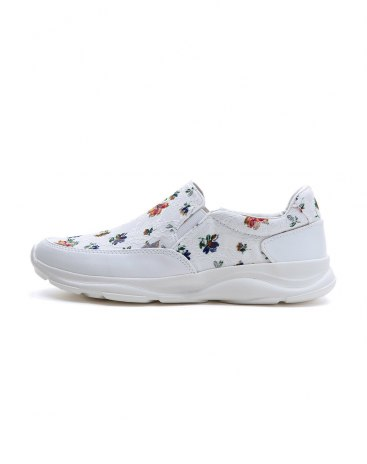 White Round Head Shock Absorbing Women's Sport Shoes