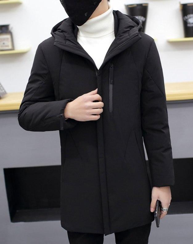 Black Hidden Hood Long Sleeve Fitted Men's Down Coat